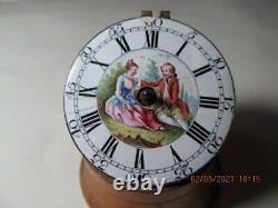 Old Watch Gousset Coq Enamel Painted Carrington London Watch