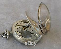 Omega Old Pocket Watch And Chain Sterling Silver (works)