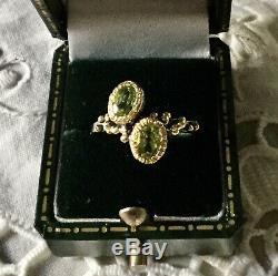 Original Old Ring Design Peridot Silver, Gold Finish