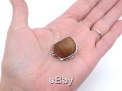 Original Small Old Hazelnut Box Solid Silver Hoop Pendant