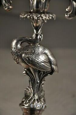 Pair Of Old Birds Sterling Silver Candlesticks