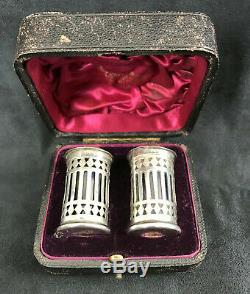 Pair Of Old Salieres In Sterling Silver (english) In Their Case