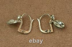 Pair Of Old Sleeper Earrings In Silver Massive Stones Art Deco