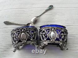 Pair Salt-old Salerons + 2 Spoons Sterling Silver Minerve-nineteenth-silver