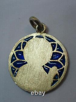 Pendant Antique Enamel Silver Day Pendant Vermeil Yellow Gold Late 19th Century