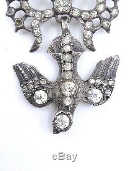 Pendant Holy Spirit Old Solid Silver And Rhinestone Jewel Regional Nineteenth