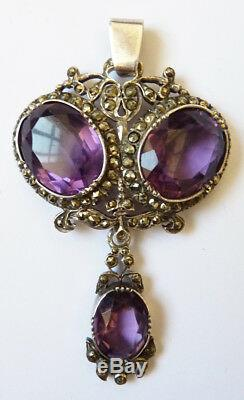 Pendant Solid Silver + Marcasite And Amethyst Jewel Old 19th Century