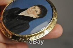 Pin Portrait Miniature Vermeil Old Antique Solid Silver Gilt Brooch