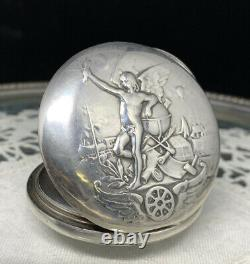 Pocket Watch Silver Case Old Omega Holy Antique Silver Pocket Watch