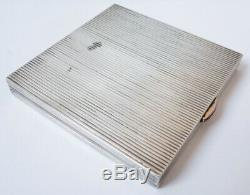 Poudrier Signed Former Hermes Paris Silver + Ruby carriage Silver Powder Box