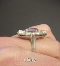 Pretty Antique Silver Ring And Purple Stone Art Deco Model