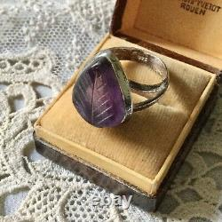 Rare Ancient Intail Ring Amethyste Sculpted, Silver Massive, Splendid