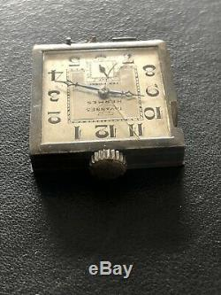 Rare And Ancient Hermes Tavannes Men's Belt Watch In Sterling Silver Year 30