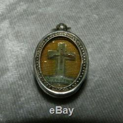 Rare Former Ex Voto Pendant Reliquary Crux Vera Cross Of Jesus Silver