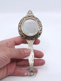 Rare Old Face-to-face Mirror In Massive Silver Vermeil 18th