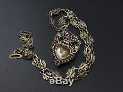 Rare Old Regional Necklace In Sterling Silver Vermeil And Jet Heart Pendant