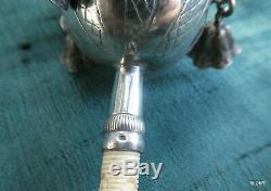 Rattle Siffleur Old Silver And Monogrammed Os / Boar Punch 17g7
