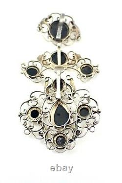 Regional Jewellery Ancient Cross Pendant In Solid Silver And 19th Century Stone