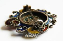 Saint Georges Antique Brooch In Solid Silver And Enamel Silver Enamel Brooch