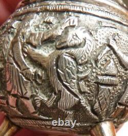 Salière Argent Massive Old Medieval Byzantine Decoration Saleron Griffin Silver Salt