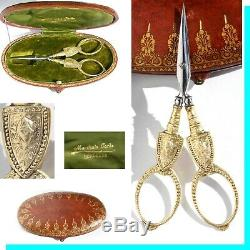 Scissors Embroidery Sewing Gilt Silver Casket Old Embroiderer Scissors