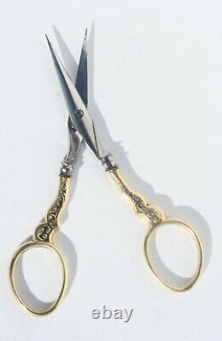 Silver Gilt Old Sewing Kits Embroidery Scissors Case Royal Palace