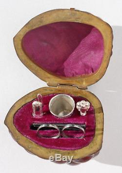 Silver Old Necessary Sewing Miniature Walnut Scissors Walnut Sewing Box