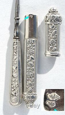 Silver Old Sewing Needle Sew Inlay Box Marquetry Sewing Set Scissors