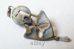 Silver Pendant Plique A Day Signed Jewel Old Necklace