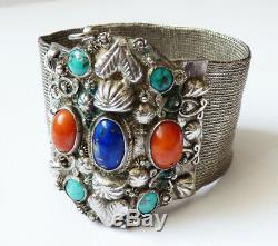 Solid Silver Antique Bracelet + Turquoise + Coral + Ethnic Lapis Silver