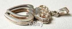 Solid Silver Pendant Sacred Heart Vendéen Jewel Ancient Sacred Heart