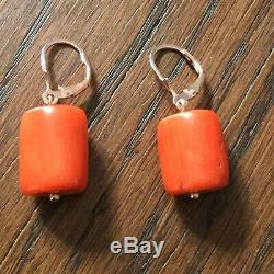 Splendid Ancient Earrings In Beautiful Coral, Gold, Sterling Silver