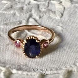 Splendid Ancient Ring Natural Trilogy Sapphire, Ruby, Vermeil Gold Rose/ Silver