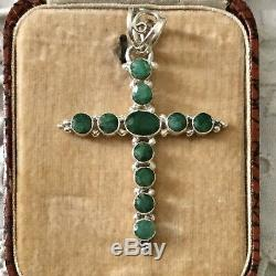 Splendid Great Old Cross Pendant And Sterling Silver Emerald