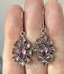Splendid Old Big Earrings Topaz Pink, Silver Massif