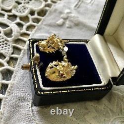 Splendid Old Earrings Dragon Sapphire Yellow Ruby Vermeil Silver
