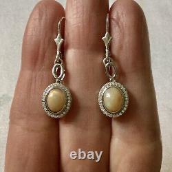 Splendid Old Earrings Veritable Opale, Silver Massif, Topaz