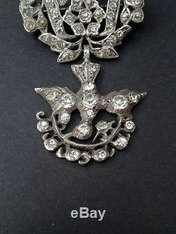 Stunning Old Holy Spirit In Sterling Silver And Rhinestone Brooch