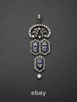 Stunning Old Pendant In Solid Silver Rhinestones And Blue Stones 19th