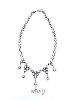 Stunning Old River Necklace In Solid Silver And 19th Century Drapery Rhinestones