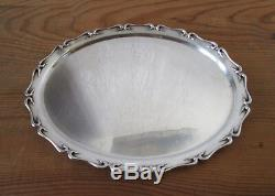 Stunning Old Small Flat Platter In Sterling Silver Martin Mayer Mainz