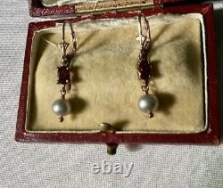 Sublime Ancient Earrings Grenat Pearl Vermeil Gold Rose / Silver