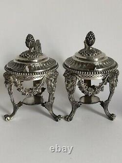 Sublime And Rare Former Pair Of Moutardiers In Massif Argent Goldsmith Fg