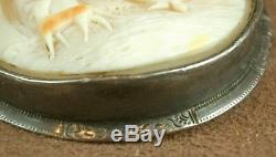 Super Pin Cameo Shell Old Woman & Dog Mount Sterling Silver Nineteenth