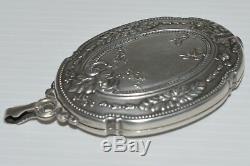 Super Small Mirror Elegant Necklace Of Napoleon III Silver Nineteenth Ancient Jewel