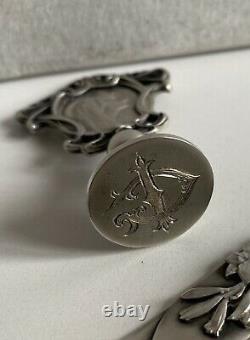 Superb Art Nouveau Seal Set Cut Paper Old Solid Silver