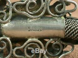 Superb Bracelet Ancient Dragon Silver Massive And Jade China Ndochine Beginning Xxth