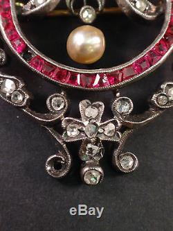 Superb Brooch Pendant Antique Solid Silver 18k Gold Diamonds, Rubies And Pearls