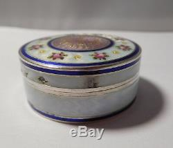 Superb Old Box Enameled Solid Silver And Vermeil