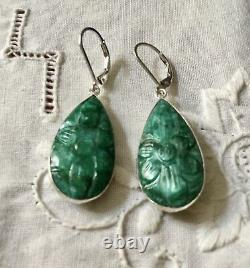 Superb Old Emerald Sculpted Emerald Buckets, Massive Silver, See